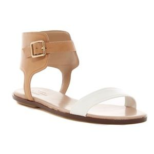 Cole Haan Grand OS Barra White Tan Flat Sandals 6